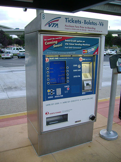 VTA Light Rail ticket machine - Transit.Wiki
